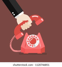 Hand picking up the phone. Vector illustration