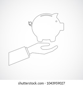 hand with pig bank outline icon