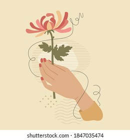 Hand with pink chrysanthemum flower over modern abstract shapes. Vector fashion vintage style illustration isolated on beige background. Feminine beauty concept.