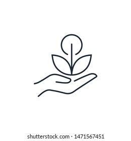 Hand. Plant. Herbal nutritional supplements. Vector linear icon on a white background.
