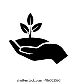 Hand with plant icon illustration isolated vector sign symbol