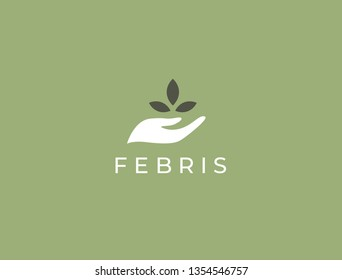 Hand with plant logo. Growth concept. Environment friendly symbol. Eco vector illustration. Hand + Leaf logo.