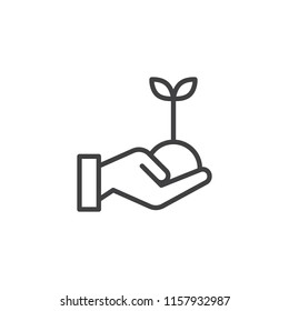 Hand with plant outline icon. linear style sign for mobile concept and web design. Hand holding soil with young sprout simple line vector icon. Symbol, logo illustration. Vector graphics