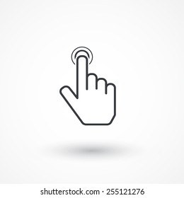 Hand point icon. Touch icon, hand with pressed finger. Flat style design icon. Click here icon, point button, contact, pointer, press, action, white background