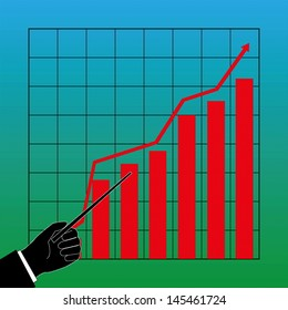hand point out a graph