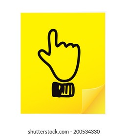 Hand point top icon on yellow sticky note paper