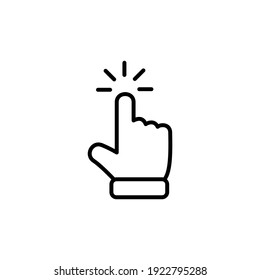 Icône du pointeur de la main. Cliquer sur l'illustration vectorielle du symbole d'icône