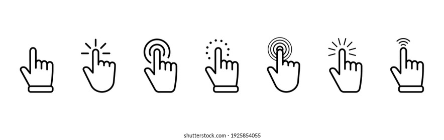 Hand pointer icons. Pointer click. Cursor icon. Clicking finger. Computer mouse click. Vector illustration.