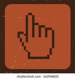 hand pointer over brick background vector illustration