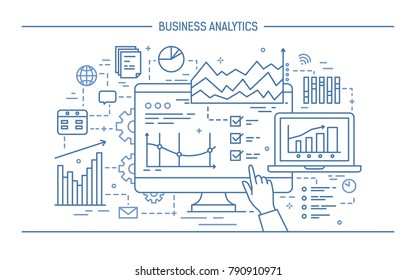 Hand pointing at computer screen or display with various diagrams, charts and graphs. Concept of statistical data analysis and business analytics. Monochrome vector illustration in line art style.