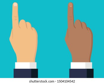 Hand with pointing finger. Afro american hand icon