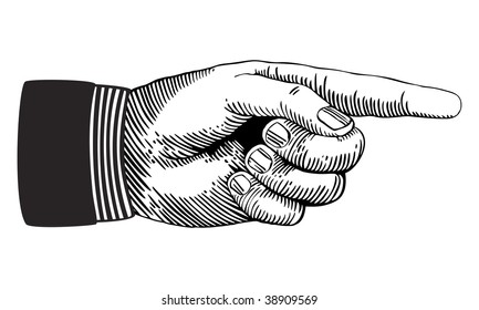 Hand with pointing finger in black and white