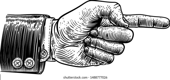 A hand pointing a finger in a direction sign. Wearing a business suit in a vintage antique engraving woodblock or woodcut style.