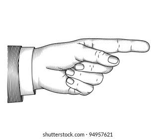 Hand with pointing finger in engraved style. Vector illustration