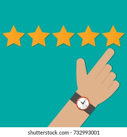 Hand pointing, finger pointing to five star rating. Feedback concept vector