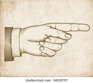 Hand with pointing finger on old paper in engraved style. Vector  EPS 10 illustration.