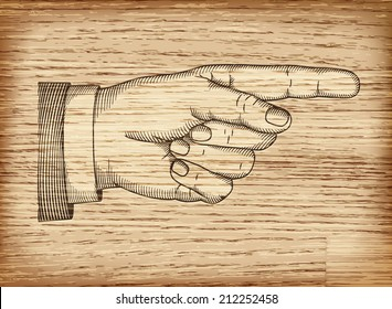 Hand with pointing finger on wood texture. Illustration in retro style.