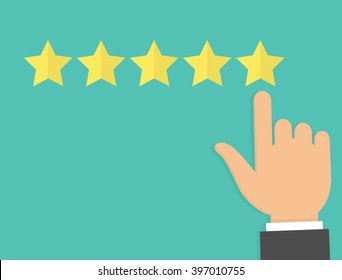 Hand with pointing finger pointing to rating stars. Flat design