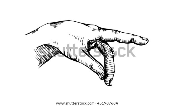 Hand pointing finger. Sign for direction. Vintage. Hand drawn.