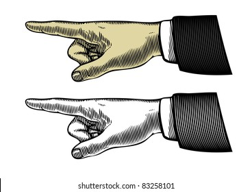 Hand with pointing finger (Vector illustration)