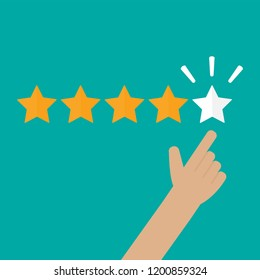 Hand pointing to five star rating. Feedback concept. Flay style vector illustration