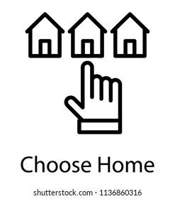Hand pointing home, choose home via internet