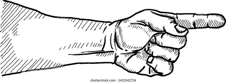 A hand with a pointing index finger. Hand drawn vector illustration.