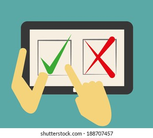 Hand pointing on check mark- approved on tablet