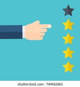 Hand pointing at one of five stars. Rating, evaluation, success, feedback, review, quality and management concept. Vector illustration