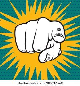 Hand pointing pop art vector illustration