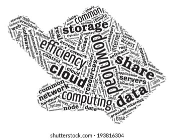 Hand Pointing Shaped Word Cloud - Cloud Computing Concept