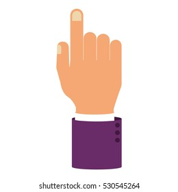 hand pointing with sleeve purple color