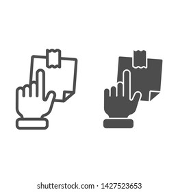 Hand pointing at sticky note line and glyph icon. Finger pointing to paper sticker vector illustration isolated on white. Notepaper outline style design, designed for web and app. Eps 10