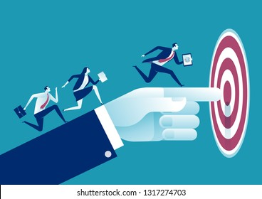 Businessman's hand pointing to the target. Business vector concept illustration