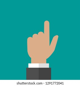 Hand points up isolated on turquoise background. Navigation, pointing, showing. hint, tint concept. Goal achievement. Vector searching illustration.