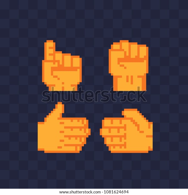 Hand Pose Pixel Art Icons Set Stock Vector (Royalty Free) 1081624694