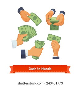 Hand poses counting, giving, taking, squeezing and showing green cash. Flat style illustration.