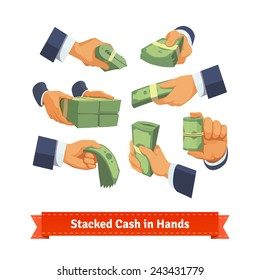 Hand poses giving, taking or showing green cash stacks with ribbon and rubber bands. Flat style illustration.