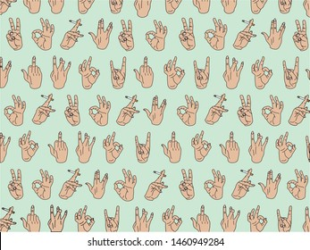 Hand Positions Print, Blue Background