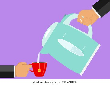 A hand pours water into a cup from the kettle. Flat design, vector illustration, vector.