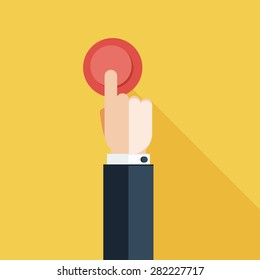 Hand Press Red Button on Yellow Background