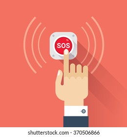 Hand press SOS button icon. Vector image isolated on red background