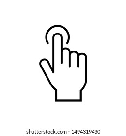 hand presses a button icon. Hand cursor sign icon. Hand pointer symbol. Flat icon vector. Touch icon perfect line style. Element of web for mobile concept and web apps- illustration. tap gesture