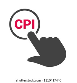 "Hand presses the button with text ""CPI"". Vector illustration"
