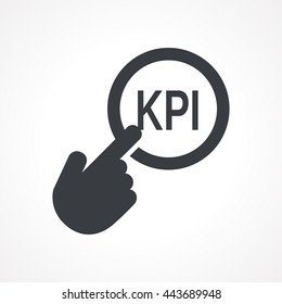 "Hand presses the button with text ""KPI"". Vector illustration"