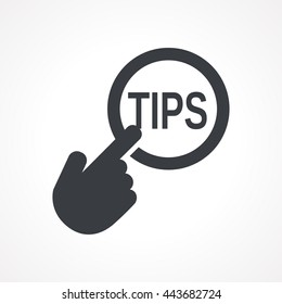 """Hand presses the button with text """"TIPS"""". Vector illustration"""