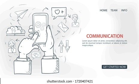 hand presses on the screen of a mobile phone, for communication, for a Website Or Mobile Apps, Artificial Intelligence Concept, outline Vector Illustration in the style of Doodle sketch