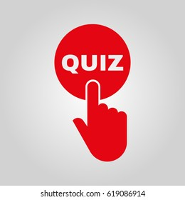 Hand pressing a button with the text QUIZ icon. Exam, test symbol. Flat design. Stock - Vector illustration