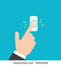 Hand pressing doorbell button. Vector image