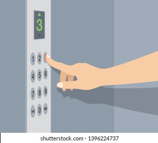 Hand pressing elevator button. Lift buttons panel. Flat vector illustration.
